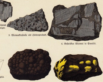 1888 Antique print of a mineral, minerals print, science, geometric forms