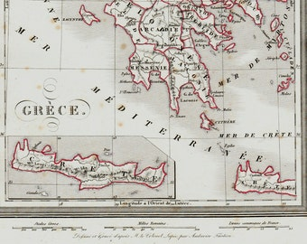 1830 GREECE Antique map. historical map, Very elegant. Original antique map + 150 years old
