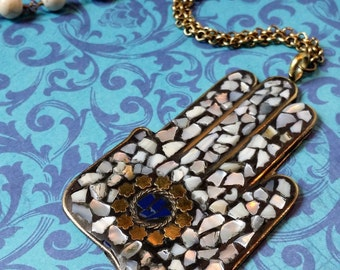 Large Hamsa Hand Necklace, Brass Hamsa Pendant, Yoga Jewelry, Mosaic Pendant, Large Hamsa Hand, Mother of Pearl, Lapis Lazuli, Boho Chic
