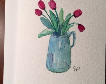 Vase of Tulips Watercolor Card / Hand Painted Watercolor Card