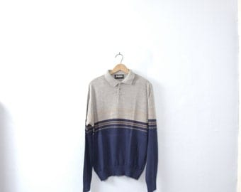 Vintage 70's knit polo sweater, grey and navy blue stripes, size large