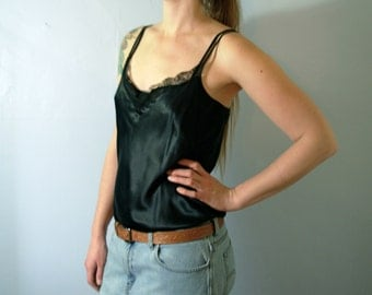Vintage 90's black silk camisole with lace, silk cami, Ralph Lauren size medium 8