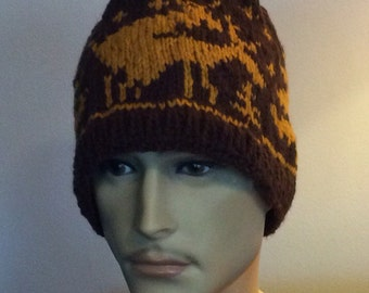 Knit Fornicating Deer Hat -  hunters gift