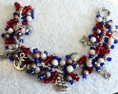 Cha Cha Bracelet, Charm Bracelet, Beach Bracelet, Beach Jewelry, Sailing Bracelet, Nautical Bracelet, Shabby Chic Bracelet - SAIL AWAY