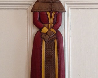 Syroco Wall Hanging Vintage 1968 Decor Made in USA Figural Resin Art 1960s MCM 7097