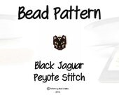 Black Jaguar Bead Pattern, Delica Seed Beads, Charm/Pendant/Jewelry Component | DIGITAL DOWNLOAD