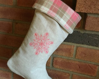 Oatmeal linen Christmas stocking pink-and-tan plaid lining foldover cuff embroidered coral snowflake holiday mantel decoration wedding gift