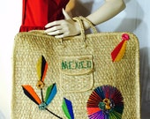 Vintage Straw Tote Large Handmade Vintage Woven Straw Embroidered Tote Beach Bag Mexico Boho Hippie Tropical Cruise Perfect for Summer