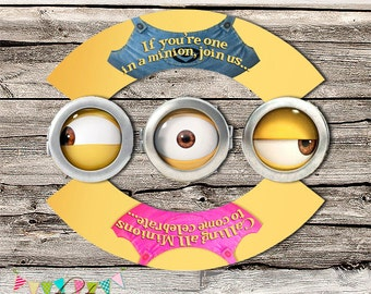 Minions Cupcake Wrapper & Topper - Girl and Boy - Birthday Party or Baby Shower Invitation - Photo Invite - Printable - Digital File