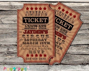Invitation - Circus, Beach or Carnival Party or Wedding Invitation - Printable - DIY - Digital File - PERSONALISED