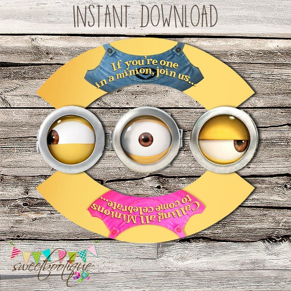 Minions Cupcake Wrapper Topper Girl And Boy Birthday Party Or