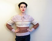 Vintage 1980s Crochet Knit Sweater in Pink Mauve and Lavender Purple / 80s Ricki Lace Knit Sweater Peter Pan Collar