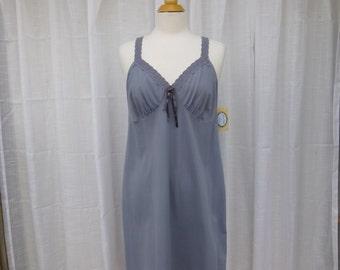 Slip Dress 38/40 L/XL Misty Grey Glam Garb Handmade USA Romantic Nightie Victorian Nightgown Vintage Steam-punk Hand Dyed Rockabilly Boho
