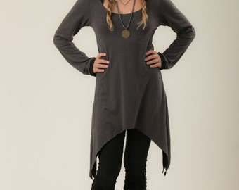 Fairy hooded winter tunic - long sleeve pixie shirt