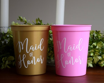 Maid of Honor Wedding Cup 16 oz. Plastic Reusable Stadium Cup