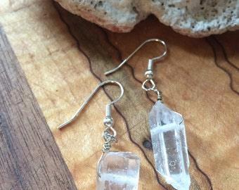 Raw Crystal Quartz Earrings