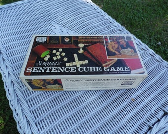 Scrabble Brand Vintage Sentence Cube Game 1971 by Selchow and Righter complete game with instructions ready for family game night