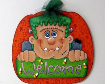 Frankenstein Welcome Sign, Large Wood Pumpkin, Orange Pumpkin, Tole or Hand Painted, Folk Art Halloween Sign, Hand Painted Halloween Sign