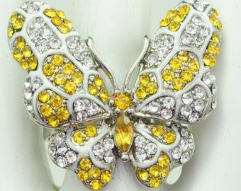 Yellow Butterfly Ring/Silver/White/Rhinestone/Gift For Her/Spring/Summer Jewelry/Adjustable/Under 12 USD