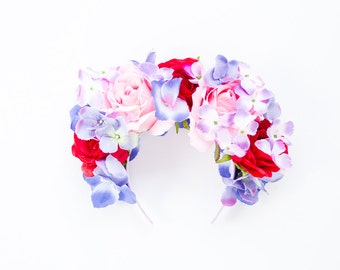 red pink purple blue statement flower crown // Eriadne / oversized large big floral headpiece fascinator, romantic, lana del rey, races
