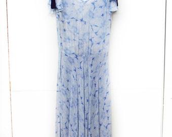 Poppy, Vintage, 1970s Blue Floral Split Sleeve, Midi Dress,  from Paris