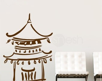 ABSTRACT ASIAN TAMPLE wall decals - Feng Shui interior decor