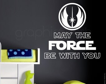 """STAR WARS INSPIRED """"May the force be with you."""" wall decals - Nursery children decor"""