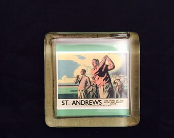 Glass Paperweight,  Golfing Souvenir,  St Andrews The Home Of The Royal And Ancient Art Of Golf