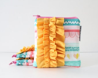 square ruffle zipper pouch -- striped color crush hearts