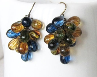 Yellow, Green, Blue, and Brown Cluster Earrings, Navy, Mustard Yellow, and Olive Green Antique Gold Beaded Cluster Earrings