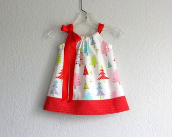 New! Baby Girls Christmas Dress and Bloomers Outfit - Infant White Dress with Colorful Christmas Trees - Size Nb, 3m, 6m, 9m, 12m or 18m