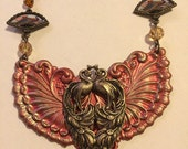 Peacock Winged Oriental Necklace, Oriental Fans, Peacock Jewelry, Assemblage Jewelry, One of a Kind, Neo Victorian Jewelry, Winged Peacock
