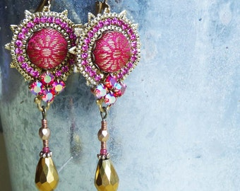 coral red  india dangle earrings with silk brocade and rhinestone