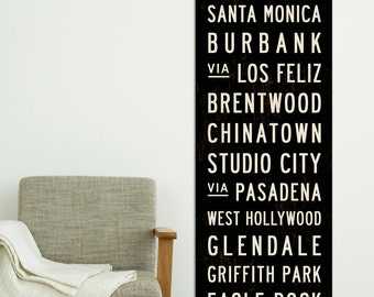 LOS ANGELES Subway Art. Transit Sign. Retro California Poster. Bus Scroll. LA Tram Roll Canvas Print. Hollywood Sign. 20 x 60