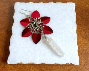 Chainmaille Flower Earrings >> Quartz Earrings, Chainmaille Earrings, Flower Earrings, Gemstone Earrings, Scalemaille Earrings, Poinsettia