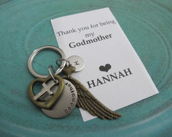 Godmother Gift | Personalized initial Keychain| Godparent Gift| Baptism Gift Idea|Christening Gift| Godparents |Godmother Thank you Card