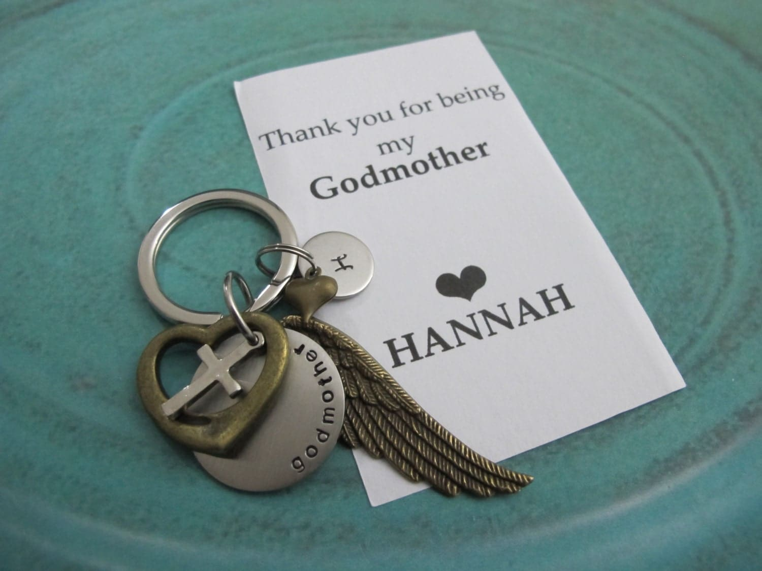 Godparent Keychain Gift For Godparents Gift For: Godmother Gift Personalized Initial Keychain Godparent