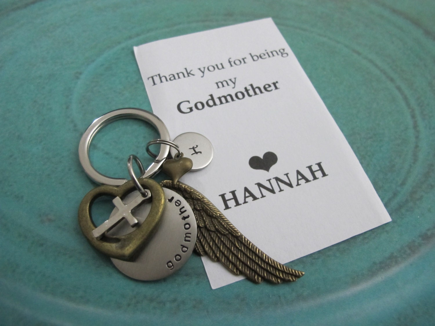 Godmother Gift Godparent Gift Personalized Gift For: Godmother Gift Personalized Initial Keychain Godparent