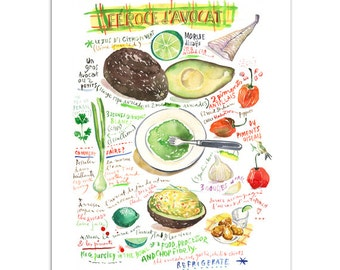 Avocado feroce illustrated recipe print, French West Indies food, Watercolor painting, Green home decor, Hostess gift, Kitchen art Caribbean