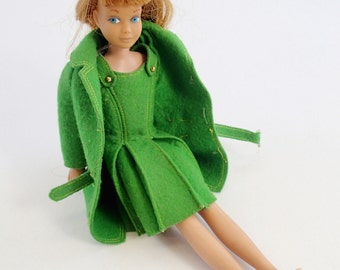 Strawberry Blond Skipper Doll With Green Town Togs Outfit Dress Coat Shoes Vintage Mod Barbie Mattel Clothes Accessories Lot