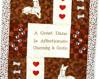 Great Dane Dog Quilt, Custom Gift For Dog Lover, Throw, Personalized With Name, No Shipping Fee, Ships TODAY, AGFT 558