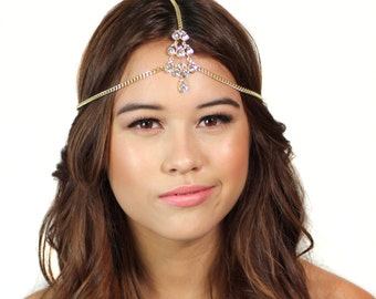 Gold Crystal Chain Headpiece / Gold Head Chain / Crystal Hair Jewelry / Grecian Headpiece / Kristin Perry