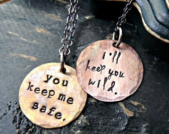 Sister Necklaces of 2, Hand Stamped Sister Necklaces, Sister Necklaces, Sister Necklace Gifts, You Keep Me Safe, I'll Keep You Wild, SISTER