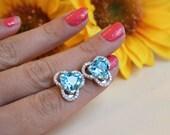 7ct Trillion Cut Blue Topaz Earrings, silver stud earring, HUGE genuine Topaz Stone, CZ halo design