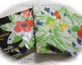 NOS Double Flat Sheet In Package and King Pillowcases Field Trip Tastemaker by Mohawk
