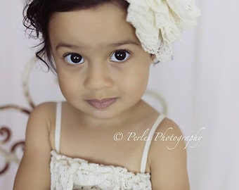 3-18 months - Couture Sophie Luxe Headband - Jumbo Lace Flower.  Tiers of lace - Perfect photography prop