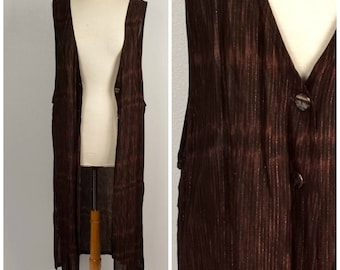 Black Brown Gold Metallic Extra Long Tunic 80s 90s Vintage Oversized Sleeveless Top Maxi Jacket Women XL 2X 46 inch bust