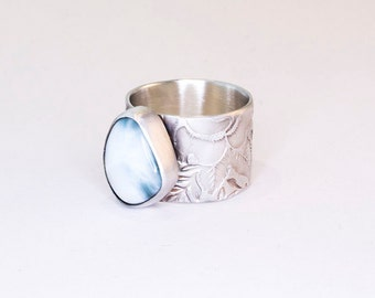 Larimar Ring Wide Band Sterling Silver Size 6.5
