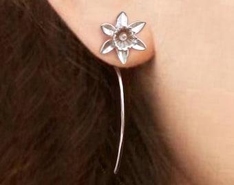 Daffodil flower earrings sterling silver earrings jewelry dangle earrings cute small stud earrings long stem earrings unique Threader E-195