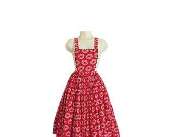 1950s NOVELTY PRINT Dress - 50s Designer Lanz Dress - Red Pinafore XS